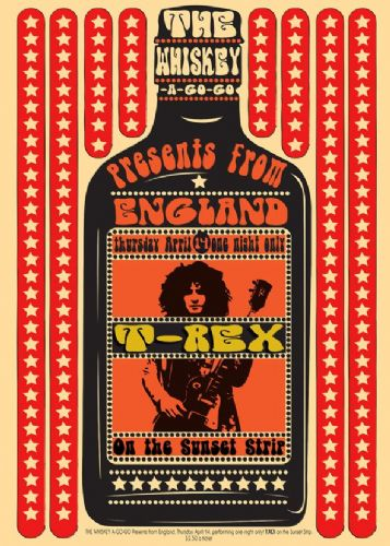 T REX - MARK BOLAN - ON THE SUNSET STRIP RED - canvas print, self adhesive poster, photo print